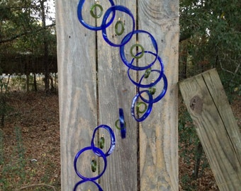 blue green Glass Wind Chimes from RECYCLED bottles, eco friendly, wind chime, garden decor, wind chimes,  musical, home decor, mobile