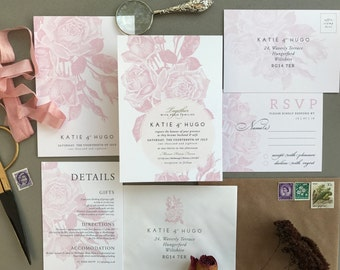 ETCHED ROSE BLUSH | Rustic Wedding Invitations, Wedding Invites, Wedding Invite, Blush and Rose Wedding Invitation Rustic - Sample Set