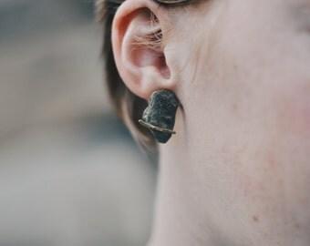 Grey Flat Stone Earrings