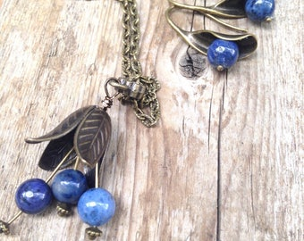 Blue Sodalite and Bronze Jewelry Set, Sodalite Necklace, Sodalite Earrings with Bronze Accents.