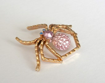Vintage Spider Brooch, Retro PinUp, Gold Tone, Purple Body