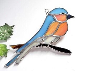 The Happy Bluebird, Gift For Her, Gift For Girlfriend, Gift For Mom, Home Decor Suncatcher Made To Order