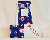 Texas Rangers Baby Blanket Toddler Minky NAME Embroidered Gift Set Large Minky PERSONALIZED Baby Boy Girl Baby Shower Gift Bundle