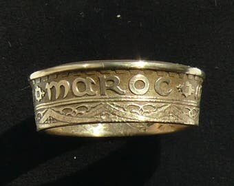 Mens Bronze Coin Ring 1952 (1371) Morocco 50 Francs, Size 10 1/4 and Double Sided