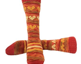 Socks, Hand Knit Unique Socks, Heart Socks, Heart Design, Boho Socks, Men Women Socks, Stylish Socks, Oranges, Hipster Socks, Unique