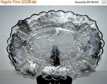 on sale vintage glass and silver leaf platter   grape center design  heavy  silver leaf  dessert  tray