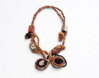 Unique rustic necklace, brown fiber art necklace, bamboo jewelry, rustic jewelry, beaded necklace, OOAK