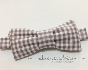 Little Man Bow Tie Gray Gingham Bow Tie Toddler Baby Boys Bow Tie Boys Neckwear Easter First Birthday Wedding Holiday