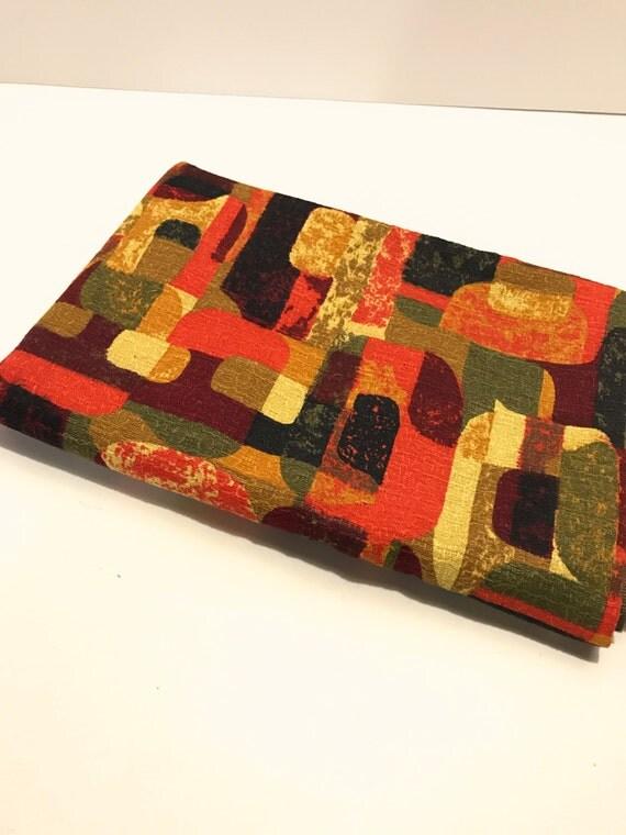 Vintage Atomic Mid Century Modern Barkcloth Upholstery Fabric