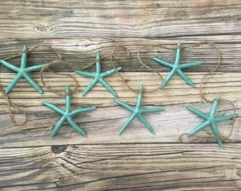 Turquoise Starfish Beach Wedding Garland, Starfish Garland, 5 foot Garland, Christmas Garland, Sea Star Beach Garland, Beach Wedding Garland
