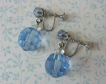 Lovely Vintage 1950's Dangling Earrings with Faceted Sky Blue Crystal Beads