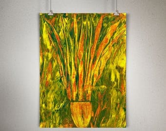 """Plant Study 0006 PAINTING on CANVAS SHEET 12"""" x 16"""", Snake Plant, Sansevieria"""
