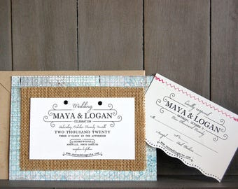 Actual Burlap on Patterned Paper UNIQUE WEDDING INVITATION with Stitching Attached with Eyelets