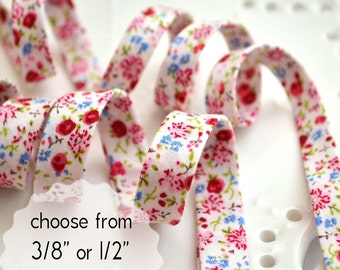 "little pink and red flowers - double fold, bias tape - 3 yards, CHOOSE 3/8"" or 1/2"" wide"