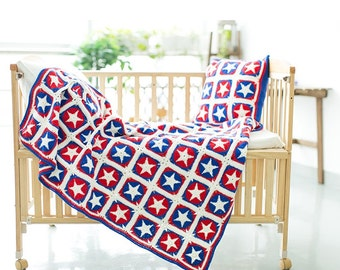 Handmade Captain America Blanket / Crochet Blanket / Throw Blanket / Crocheted Granny Blanket / Handmade Start Afghan ----- Ready to Ship