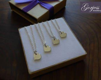 Four Silver Handmade Heart Charms 1.2mm