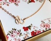 Choker / Rose Gold Filled Hammered Letter Choker / Sideways Script Letter Necklace/Rose Gold Filled Letter Necklace / Initial Necklace