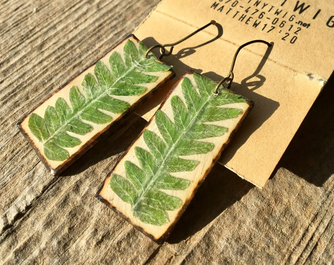 Real Fern Frond Earrings on Wood Slats Rectangle