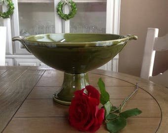 Large Retro Olive Green Pedestal Fruit Bowl with Scroll Handles