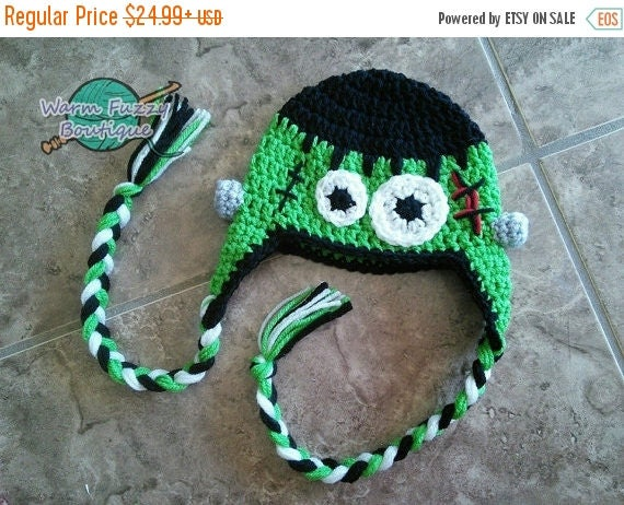 SALE 20% OFF Baby Frankenstein Earflaps Hat - Crochet Premmie Newborn NB Beanie Boy Girl Costume Halloween  Photo Prop Cap Winter Outfit