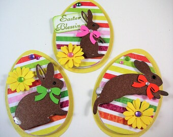 Three Easter Egg Scrapbook Embellishments, Easter Card Topper, 3d, paper piecing, Banner, Gift Tag