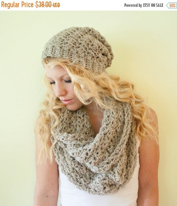 SPRING SALE The Chunky Cowl Scarf Shawl  - oatmeal - infinity