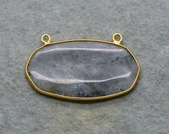 Labradorite Oval Link Pendant w/ 24K Gold Plated Brass Bezel - Geometric Boho Gemstone Connector Charm - Jewelry Making Supplies (AL058)