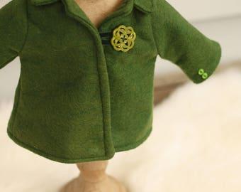 18 inch doll clothes, Celtic doll coat, waldorf doll clothes doll jacket, green felt doll coat, Irish doll coat, wool doll clothes