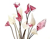 SUPPLY: 12 Flower and Leaf Headpin - Milky White and Pink - Millinery - Flower Beads - Handcrafted - Wedding - (8-F2-00007272) OS 9-86