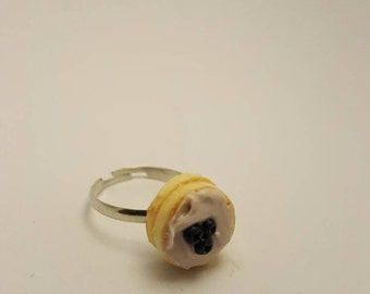 SALE - Blueberry Cake Ring - Handmade Polymer Clay