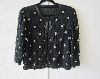 Silk Black Beaded Sequin Short Evening Jacket