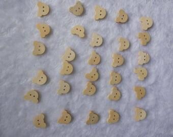 "30 PCs Natural wood buttons 18mm - Wooden Buttons ,tree buttons, natural wood buttons ""big bear head"" A012"