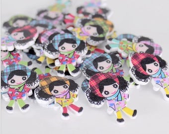 """30 PC Painted wood buttons 30mm - Wooden Buttons ,buttons, natural wood buttons """"girl"""" A099"""