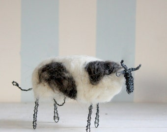 Wired cow with white and dark wool