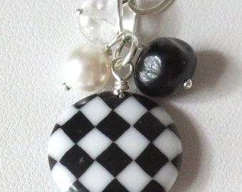 Black and White Checkerboard Charm Sterling Silver Necklace