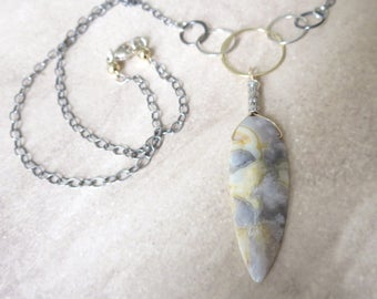 Crazy Lace Agate and Sterling Silver Pendant Necklace