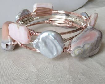 "Very Rare Set of 3 Pink Botswana Agate, Pink Opal and Large Gray Coin Pearl Bangles ""Bourbon and Bowties"" Inspired Bangles"