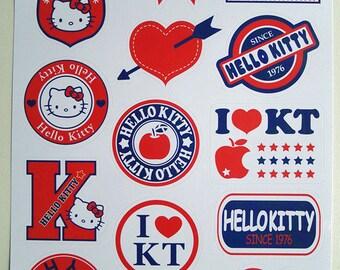 Kitty Decorative Sticker Laptop Suitcase Sticker Masking Sticker - 1 Sheet 15 Pcs