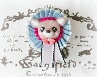 Felt fawn rosette badge, handmade needle felt deer rosette brooch, needle felt animal bag charm, blue ribbon, gift under 20