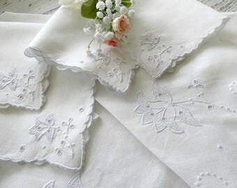 Small Vintage Tablecloth w 4 Matching Napkins Featuring Madeira Embroidery, White Luncheon Cloth, Vintage Linens by TheSweetBasilShoppe