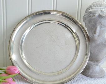 Serving tray, vintage Swedish shabby round silver plate tray, please view item details