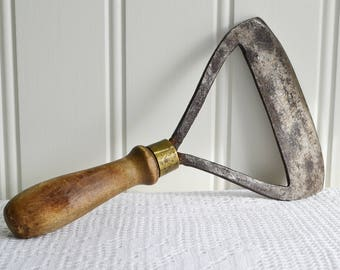 Antique meat and herb chopper, Swedish vintage farmhouse utensil, wood and metal