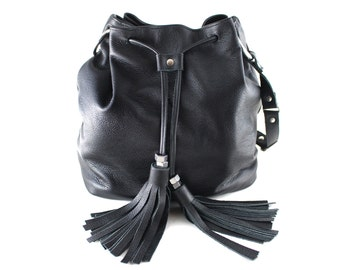 XL Leather Bucket Bag - Black | Drawstring Bag | Shoulder Bag | Crossbody | Cowhide Leather | Black Leather | Handmade
