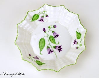 Shelley Small Bowl, Sweet Meat Dish Featuring Purple Campanula Flowers, English Bone China Trinket Dish, Wedding Gift, ca. 1940-1966