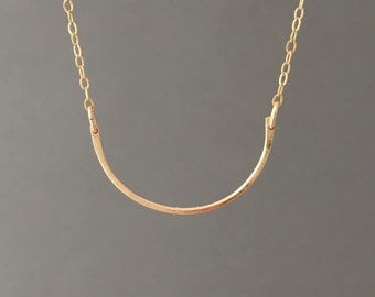 HALF CIRCLE Hammered Curved Gold Fill Bar Necklace also in Sterling Silver and Rose Gold