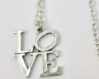LOVE Necklace-Love Necklace-LOVE Charm-LOVE Jewelry-Inspirational Necklace-Valentines-Valentines Jewelry-Valentines gift-Sweetheart gift