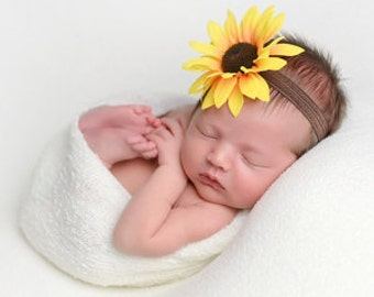 Baby Headband - Sunflower Headband - Girls Headband - Brown Headband - Photo Prop
