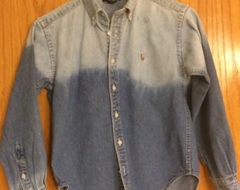 Kids Distressed Denim Shirt Boys Size Small 6/7  Bleach Dipped Button Up Denim Shirt, Beached Ombre Denim Shirt, Children's Grunge Shirt