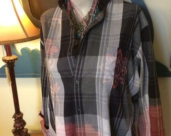 Bleach Dipped and Designed Plaid Shirt, Men's XL Slim Fit