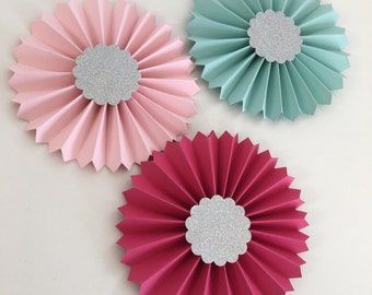 Aqua Pink Hot Pink Rosettes | As Seen on HGTV Mag | Christmas Decor | Paper Rosette Ornament | Silver Glitter